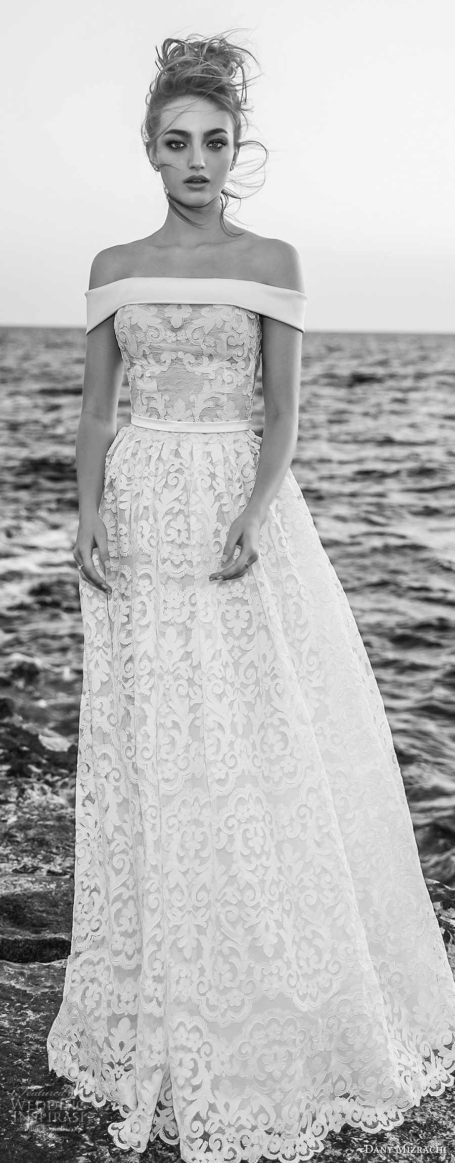 dany mizrachi 2018 bridal off the shoulder straight across neckline full embellishment romantic a  line wedding dress sweep train (15) mv