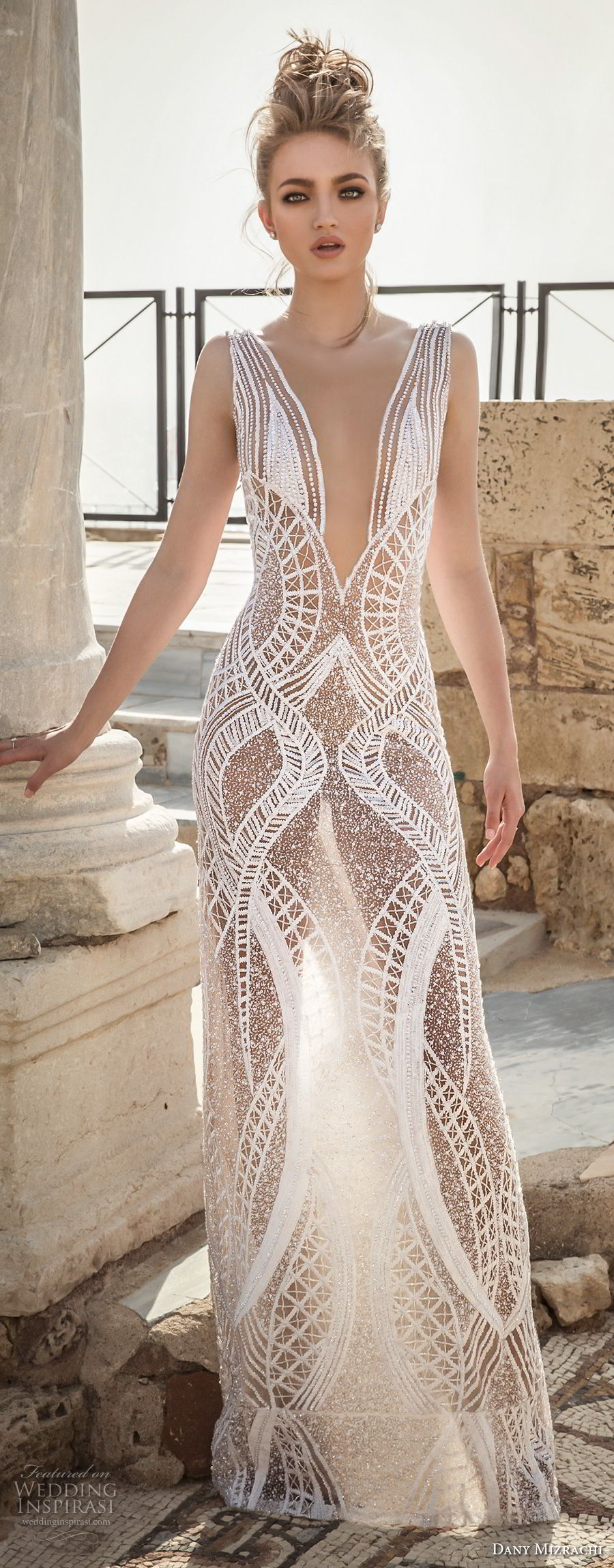 dany mizrachi 2018 bridal sleeveless deep plunging v neckline full embellishment geomatric pattern sexy column wedding dress (13) mv