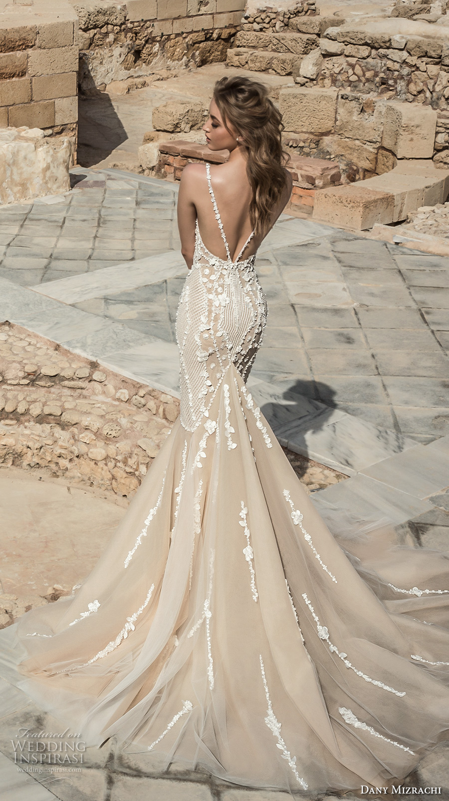 dany mizrachi 2018 bridal sleeveless halter neck deep plunging sweetheart neckline heavily embellished bodice elegant champagne color mermaid wedding dress open back chapel train (11) bv