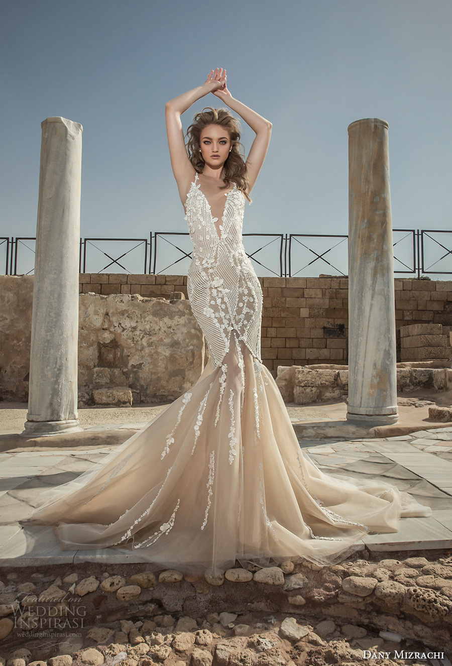 dany mizrachi 2018 bridal sleeveless halter neck deep plunging sweetheart neckline heavily embellished bodice elegant champagne color mermaid wedding dress open back chapel train (11) mv