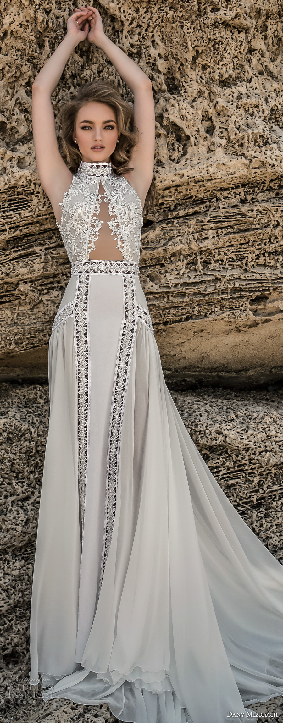 dany mizrachi 2018 bridal sleeveless high neck heavily embellished keyhole bodice flowy skirt bohemian sheath wedding dress keyhole back chapel train (5) mv