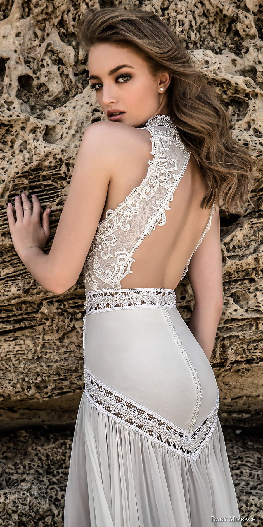 dany mizrachi 2018 bridal sleeveless high neck heavily embellished keyhole bodice flowy skirt bohemian sheath wedding dress keyhole back chapel train (5) zbv