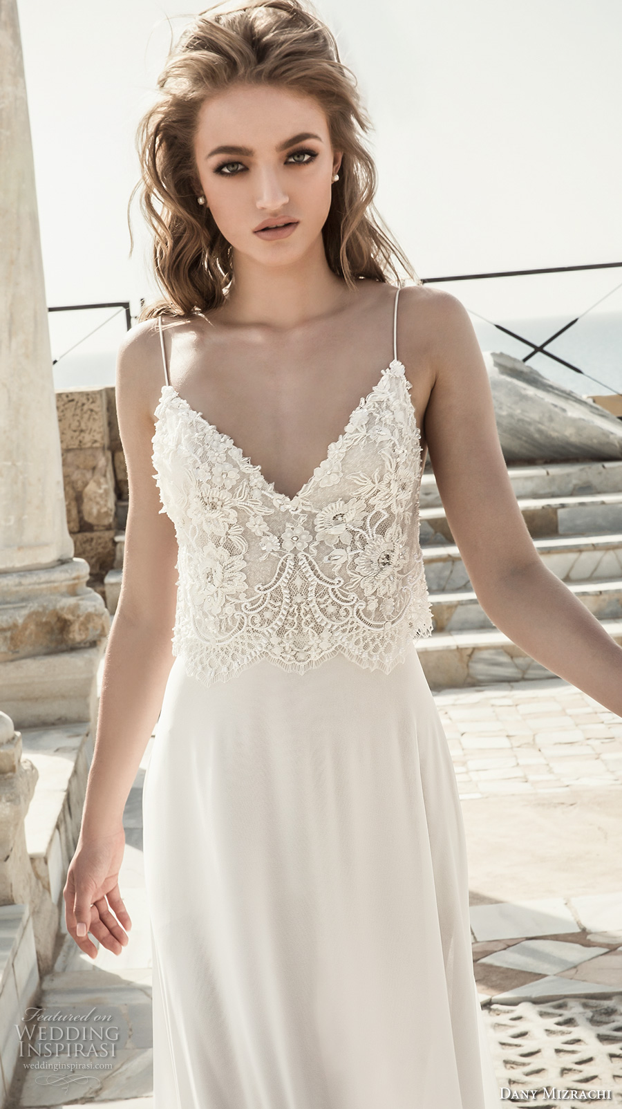 dany mizrachi 2018 bridal sleeveless spaghetti strap sweetheart neckline heavily embellished bodice lace top grecian column wedding dress (12) zv
