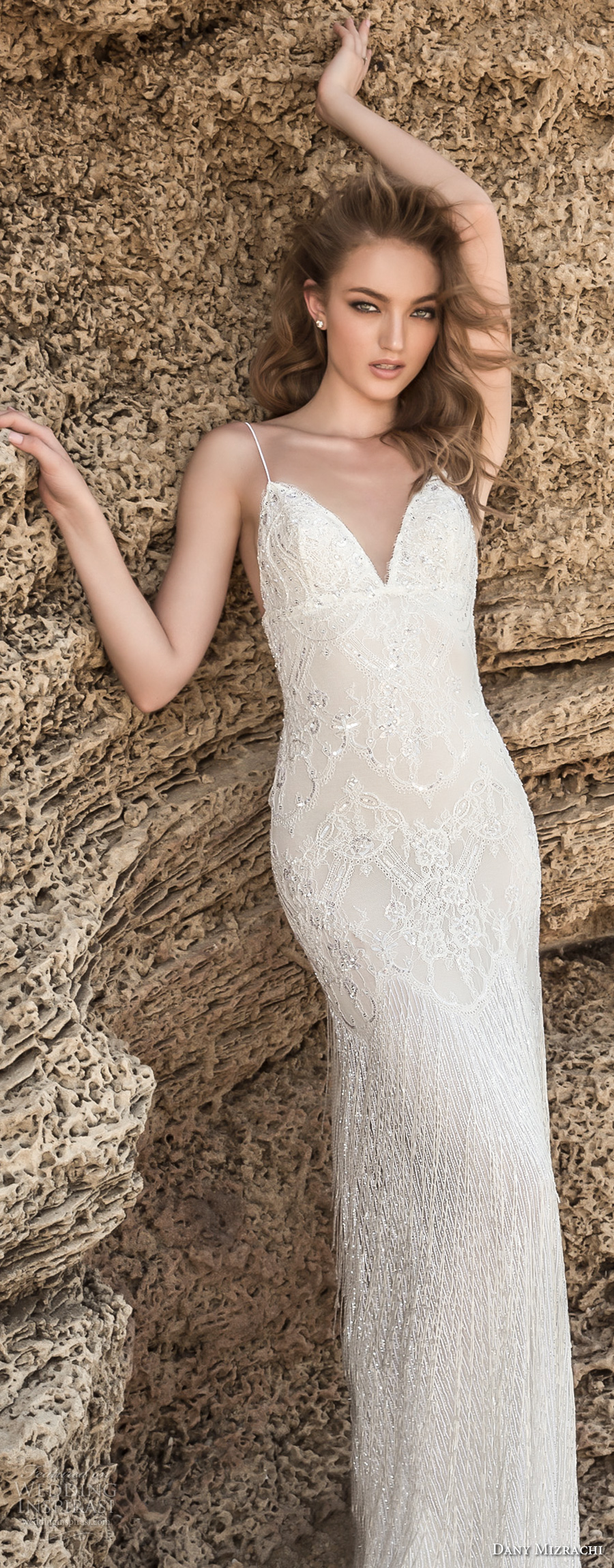 dany mizrachi 2018 bridal spaghetti strap sweetheart neckline full embellishment elegant sexy sheath wedding dress sweep train (9) zv