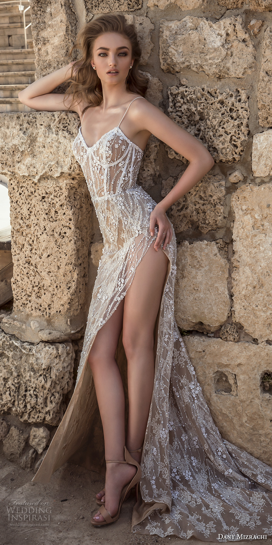 dany mizrachi 2018 bridal spaghetti strap sweetheart neckline full embellishment high side slit nude color sexy a line wedding dress short train (4) mv