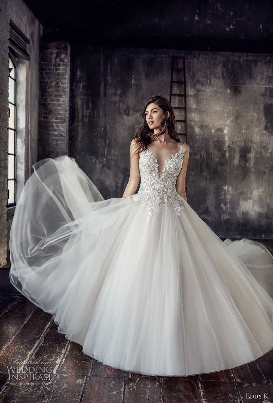 eddy k 2018 bridal cap sleeves illusion bateau deep plunging sweetheart neckline heavily embellished bodice tulle skirt romantic a  line wedding dress open scoop back chapel train (199) mv