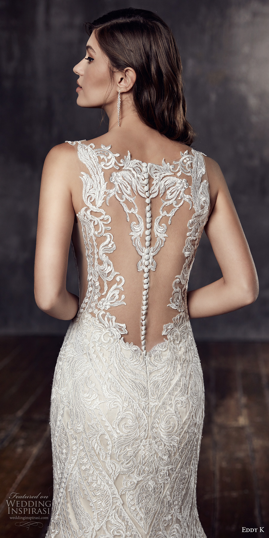 eddy k 2018 bridal sleeveless embroidered strap v neck full embellishment elegant lace fit and flare wedding dress sheer lace back chapel train (ct198) zbv