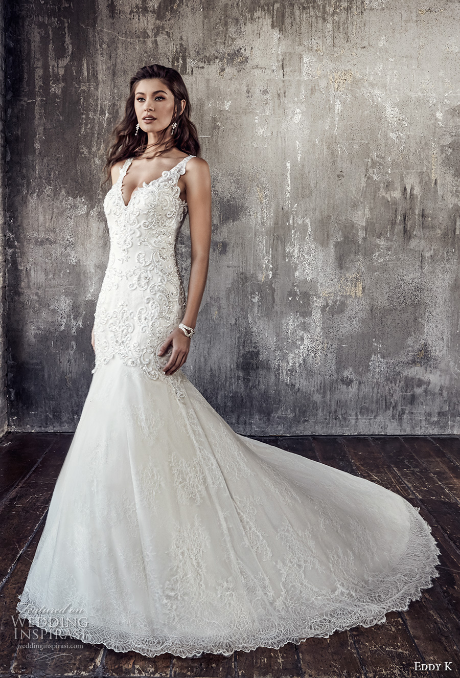 eddy k 2018 bridal sleeveless strap v neckline heavily embellished bodice elegant glamorous trumpet wedding dress covered lace back chapel train (203) mv
