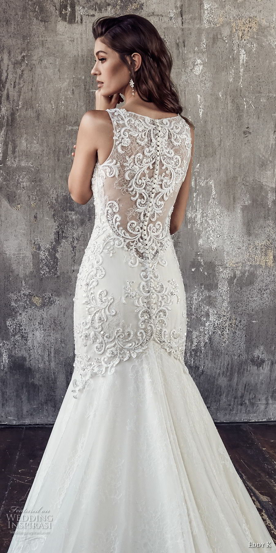 eddy k 2018 bridal sleeveless strap v neckline heavily embellished bodice elegant glamorous trumpet wedding dress covered lace back chapel train (203) zbv