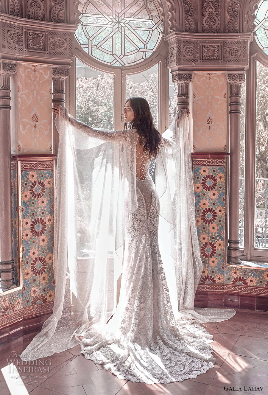 galia lahav spring 2018 bridal cap sleeve deep sweetheart neckline full embellishment elegant glamorous fit and flare wedding dress keyhole back sweep train (rayne) bv