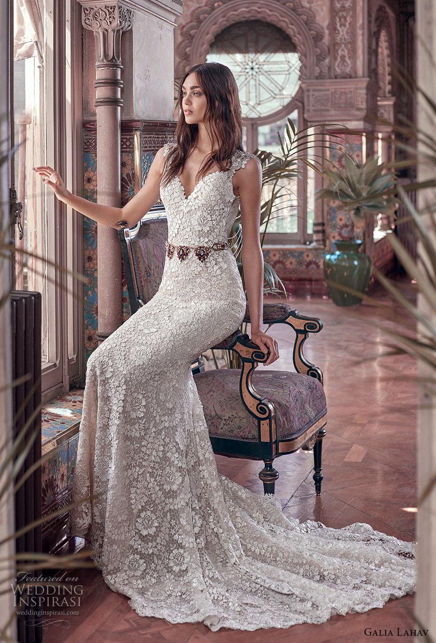 galia lahav spring 2018 bridal cap sleeve deep sweetheart neckline full embellishment elegant glamorous fit and flare wedding dress keyhole back sweep train (rayne) mv