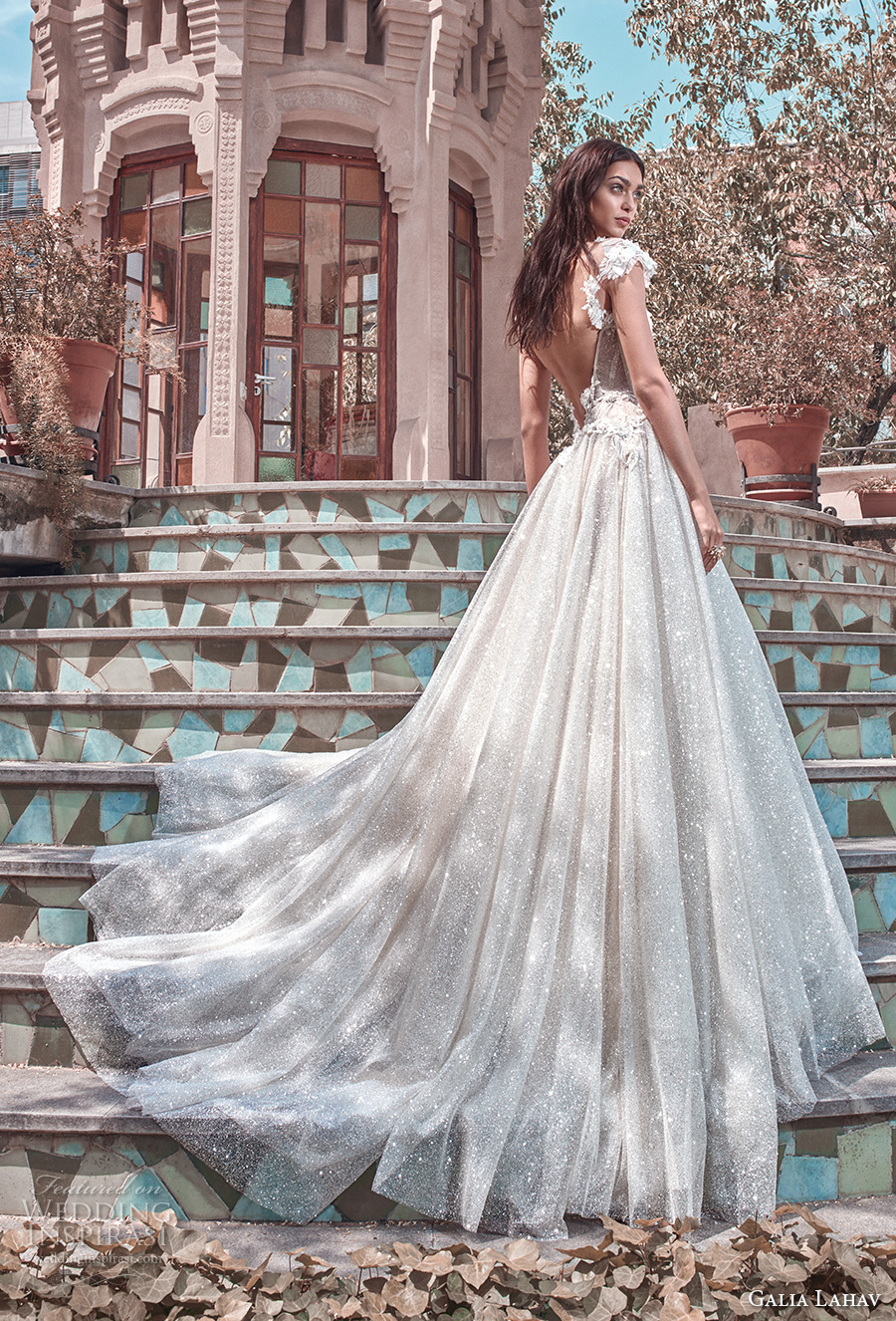 galia lahav spring 2018 bridal cap sleeves deep plunging sweetheart neckline heavily embellished bodice glitter skirt romantic a  line wedding dress open back chapel train (liliya) bv