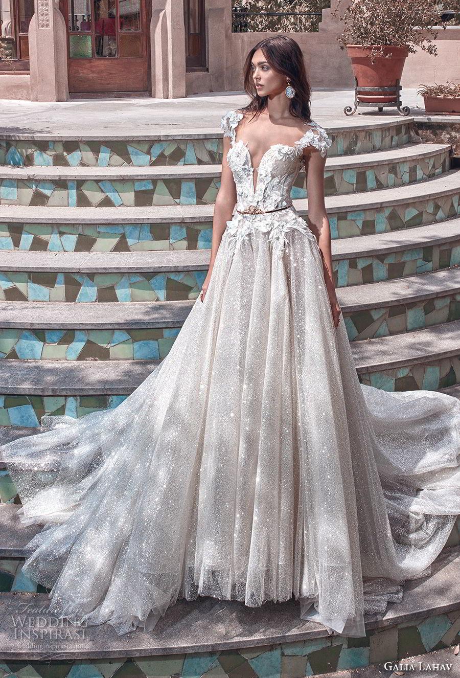 galia lahav spring 2018 bridal cap sleeves deep plunging sweetheart neckline heavily embellished bodice glitter skirt romantic a  line wedding dress open back chapel train (liliya) mv