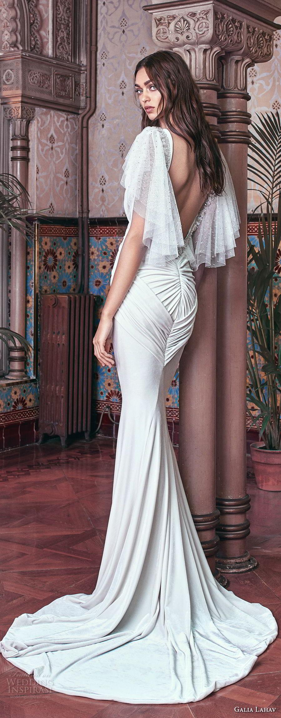 galia lahav spring 2018 bridal circular sleeves deep plunging v neck lightly embellished bodice grecian elegant sheath wedding dress open low back sweep train (velvet) bv