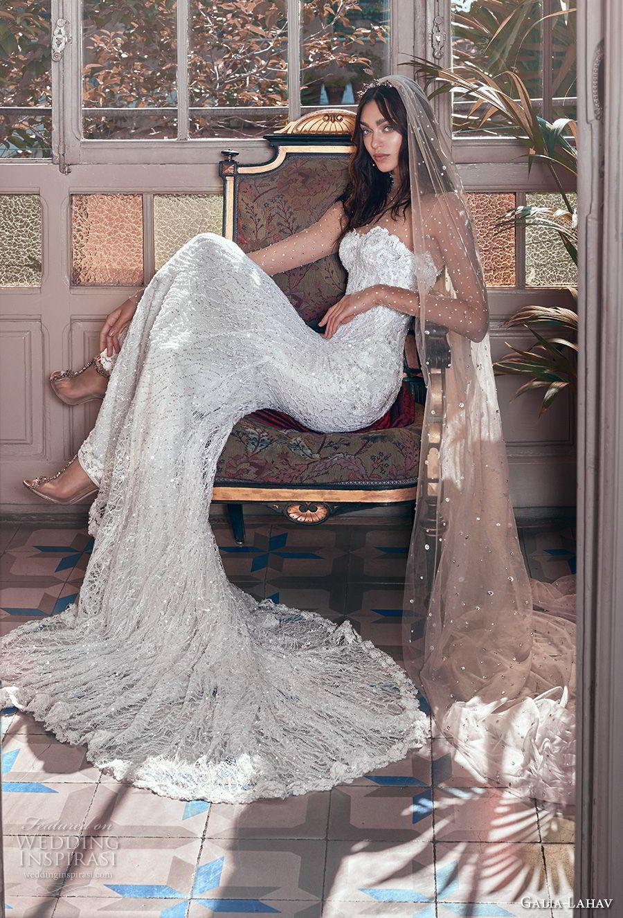 galia lahav spring 2018 bridal illusion long sleeves illusion high neck sweetheart neckline full embellishment elegant fit and flare sheath wedding dress chapel train (inez) mv