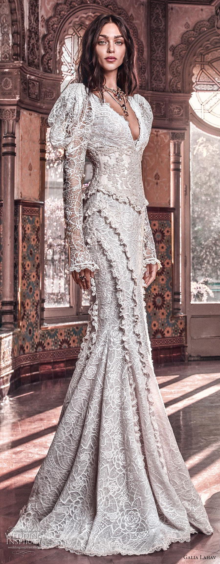galia lahav spring 2018 bridal leg of mutton long sleeves v neck full embellishment elegant vintage fit and flare wedding dress mid scoop back chapel train (charlie and dolly belt) mv