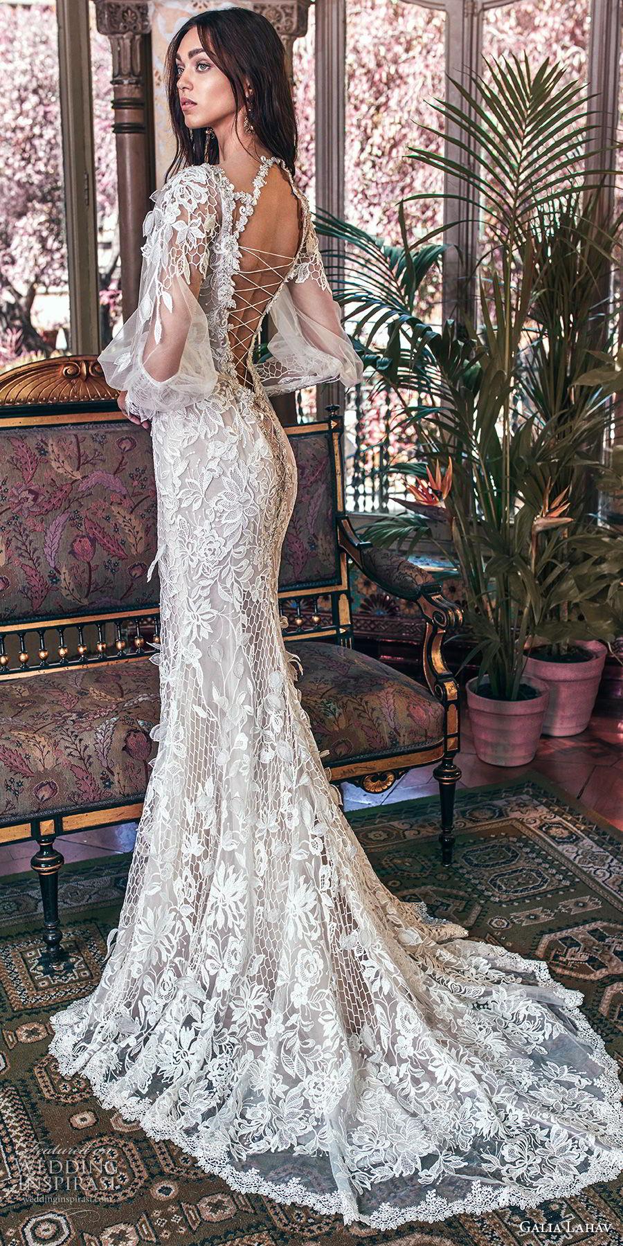 galia lahav spring 2018 bridal long bishop sleeves deep plunging v neck full embellishment elegant fit and flare wedding dress keyhole back sweep train (lia) bv