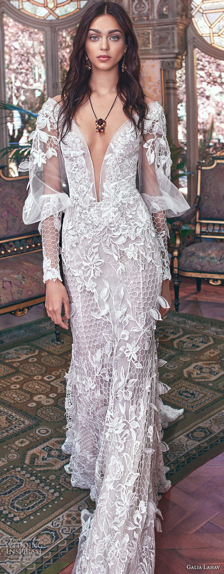 galia lahav spring 2018 bridal long bishop sleeves deep plunging v neck full embellishment elegant fit and flare wedding dress keyhole back sweep train (lia) mv