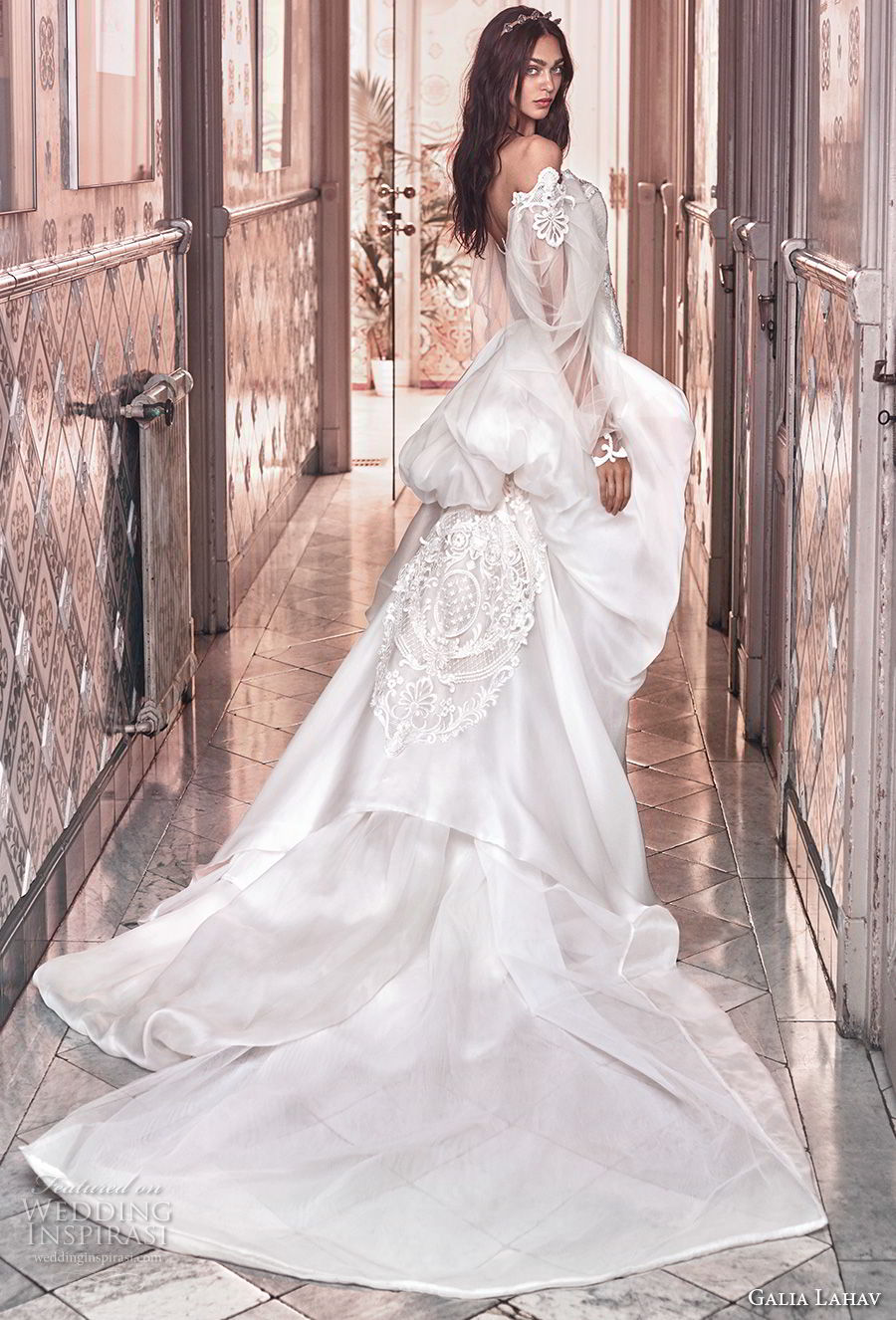galia lahav spring 2018 bridal long bishop sleeves off the shoulder sweetheart neckline heavily embellished bodice vintage fit and flare wedding dress a  line overskirt chapel train (thelma) sdv