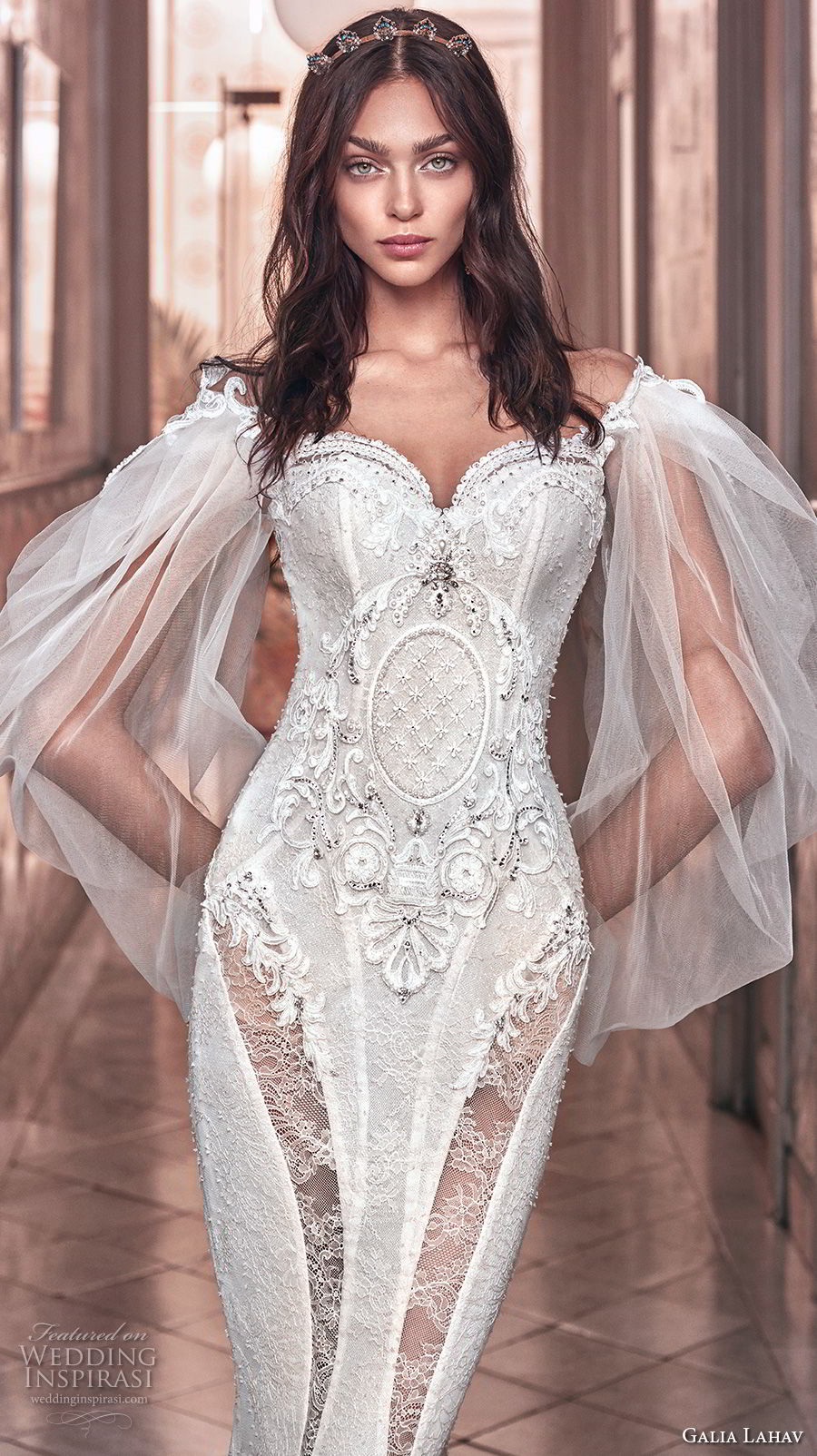 galia lahav spring 2018 bridal long bishop sleeves off the shoulder sweetheart neckline heavily embellished bodice vintage fit and flare wedding dress sweep train (thelma) zv