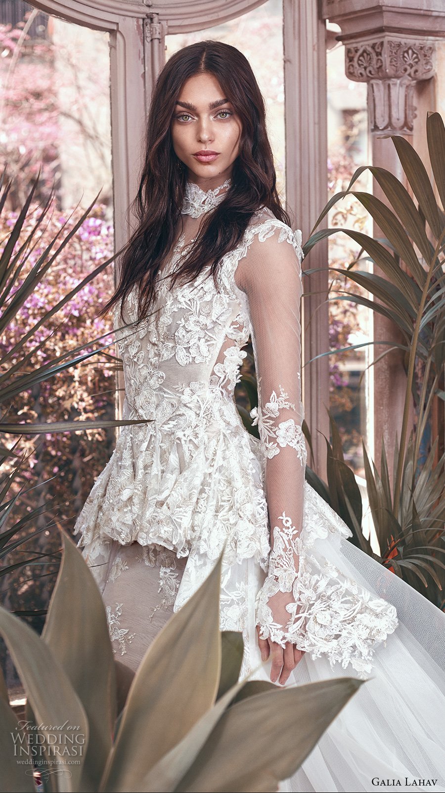 galia lahav spring 2018 bridal long sleeves sheer high neck sweetheart neckline full embellishment peplum victorian vintage sheath wedding dress keyhole back sweep train (tesla) zv
