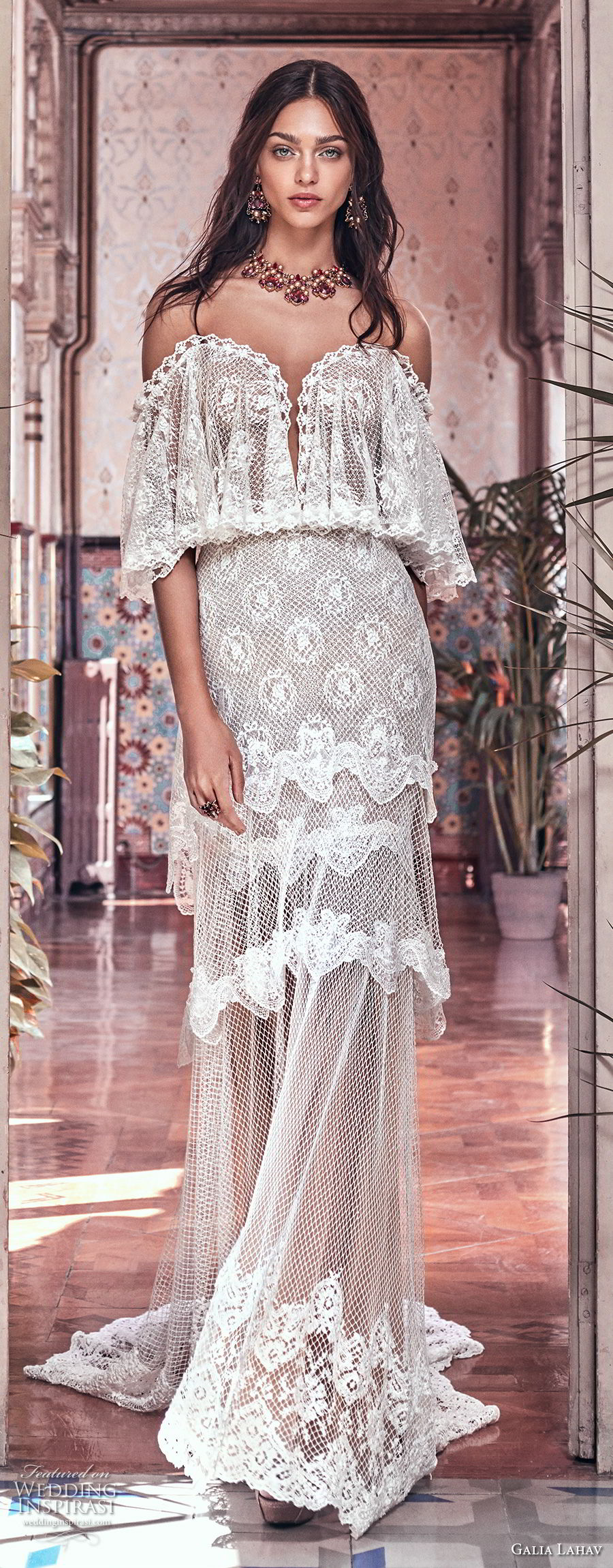 galia lahav spring 2018 bridal off the shoulder angel sleeves sweetheart neckline full embellishment capelet vintage a  line wedding dress sweep train (lizzy) mv