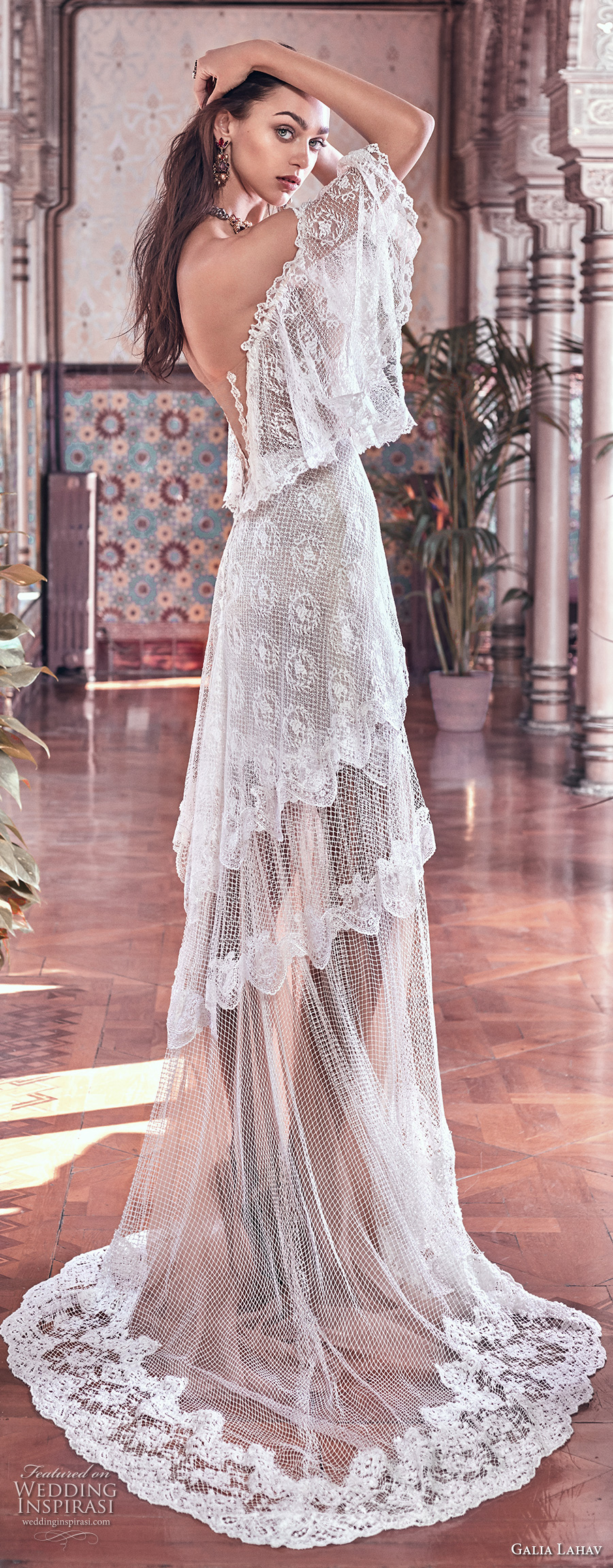 galia lahav spring 2018 bridal off the shoulder angel sleeves sweetheart neckline full embellishment capelet vintage a  line wedding dress sweep train (lizzy) sdv