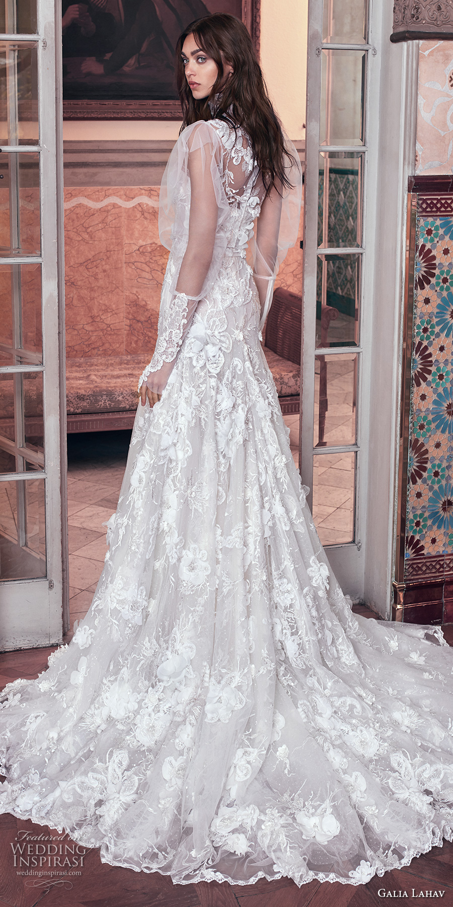 galia lahav spring 2018 bridal puffed long sleeves high neck sweetheart neckline full embellishment vintage a  line wedding dress sheer back chapel train (laura and top) bv