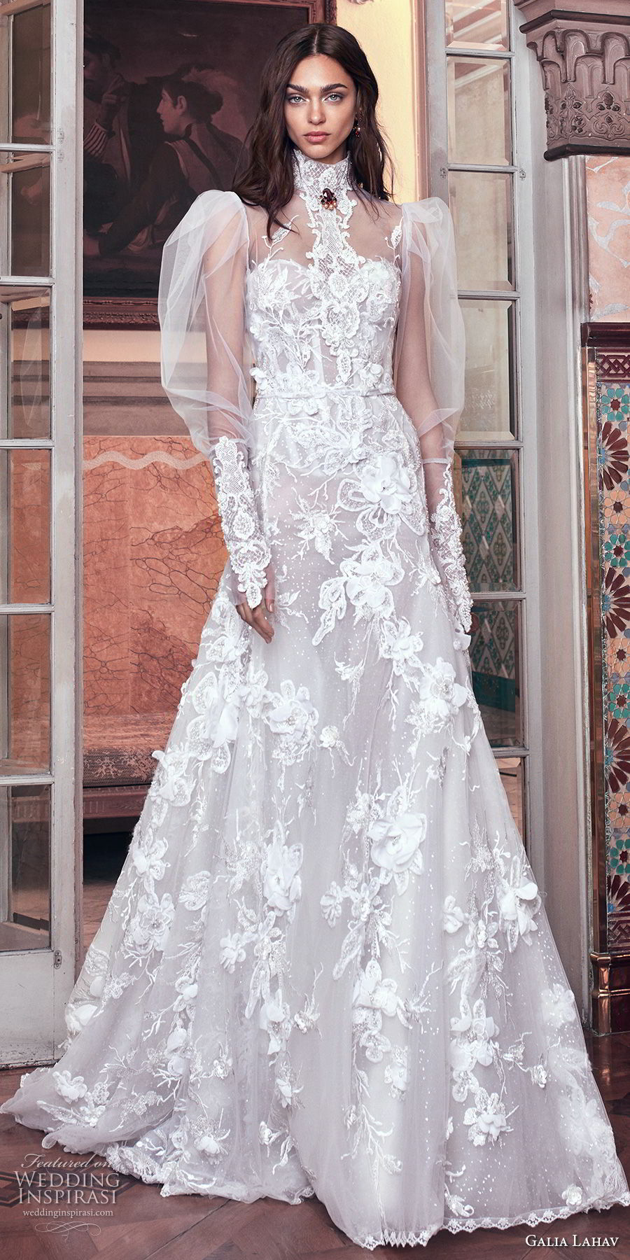 galia lahav spring 2018 bridal puffed long sleeves high neck sweetheart neckline full embellishment vintage a  line wedding dress sheer back chapel train (laura and top) mv