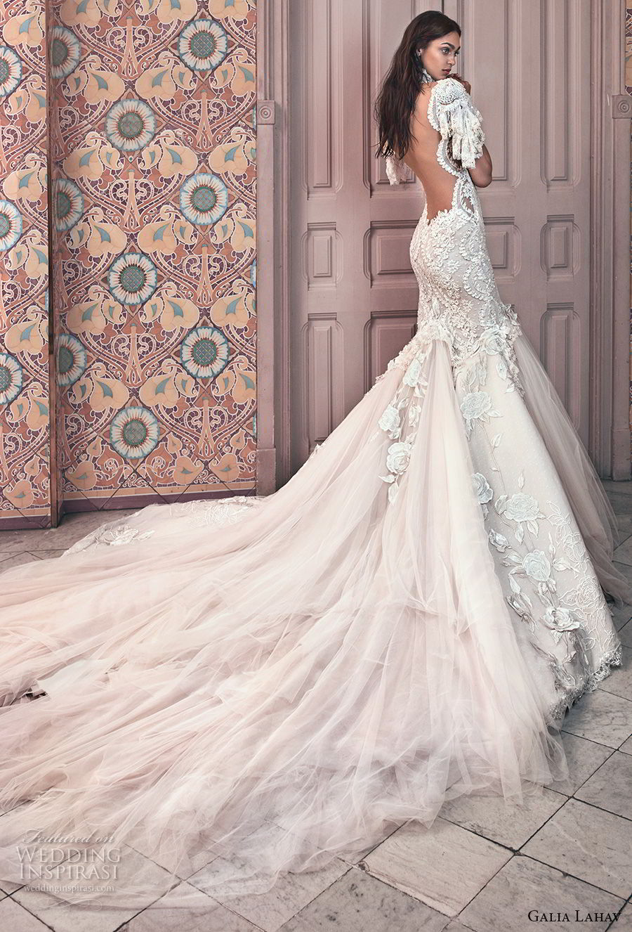 galia lahav spring 2018 bridal short sleeves illusion high sweetheart neck heavily embellished bodice tulle skirt ivory color mermaid wedding dress open low back royal train (ms genesis) bv