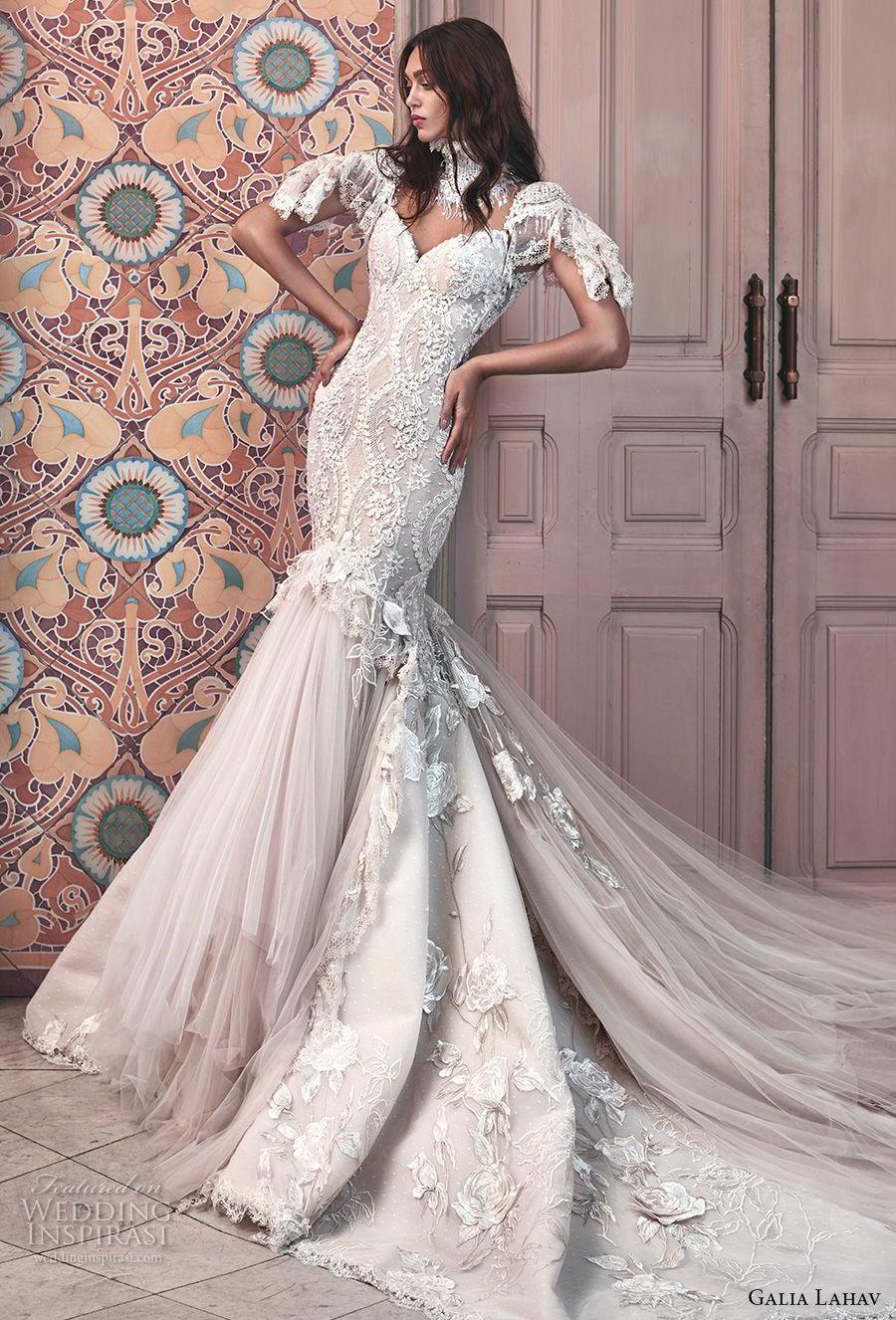 galia lahav spring 2018 bridal short sleeves illusion high sweetheart neck heavily embellished bodice tulle skirt ivory color mermaid wedding dress open low back royal train (ms genesis) mv