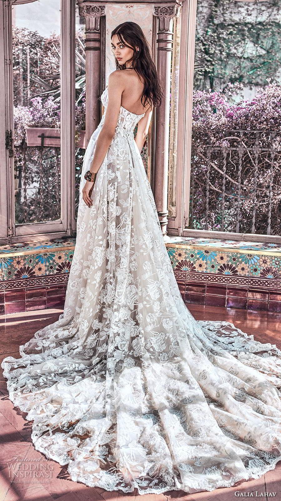 galia lahav spring 2018 bridal strapless sweetheart neckline full embellishment romantic princess a  line wedding dress mid back chapel train (georgia) bv
