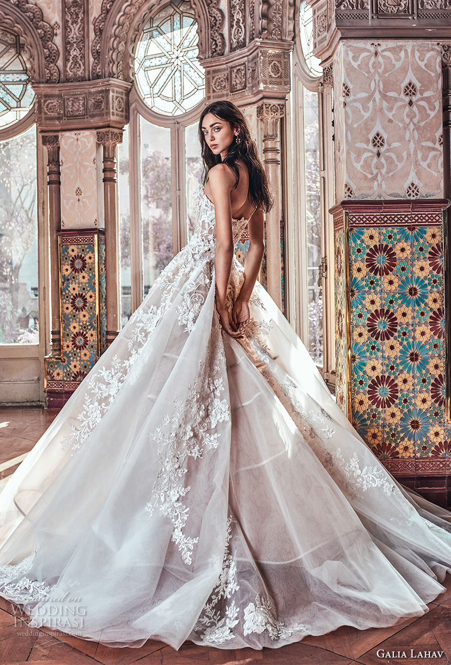 galia lahav spring 2018 bridal strapless sweetheart neckline heavily embellished bodice romantic princess blush color ball gown a  line wedding dress chapel train (alma) bv