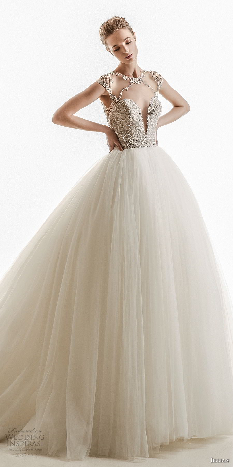 jillian 2018 bridal cap sleeves illusion jewel deep plunging sweetheart neckline heavily embellished bodice tulle skirt princess glamour wedding dress keyhole back chapel train (19) mv