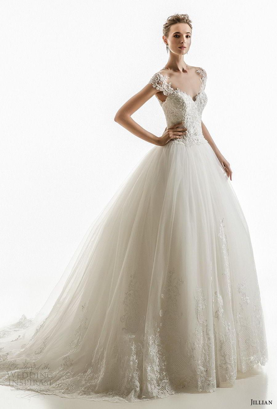 jillian 2018 bridal cap sleeves illusion jewel sweetheart neckline heavily embellished princess ball gown wedding dress sheer lace back chapel train (17) mv