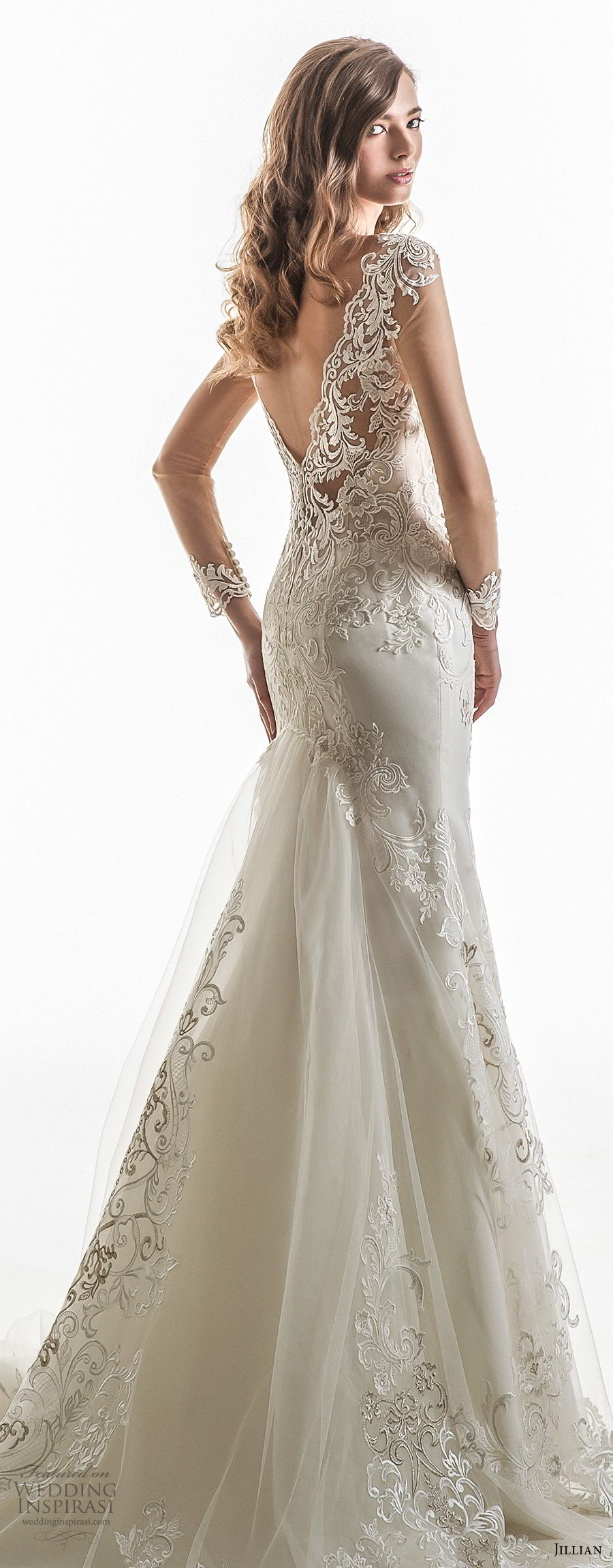 jillian 2018 bridal cap sleeves sweetheart neckline heavily embellished bodice elegant sheath wedding dress open v back chapel train (03) zbv