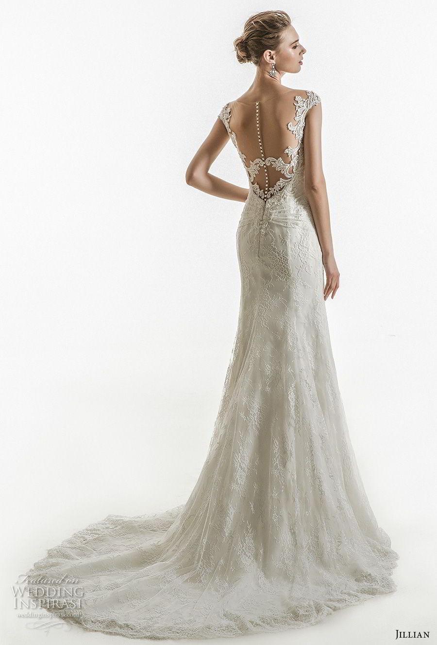 jillian 2018 bridal cap sleeves sweetheart neckline heavily embellished bodice elegant sheath wedding dress sheer button back chapel train (06) bv