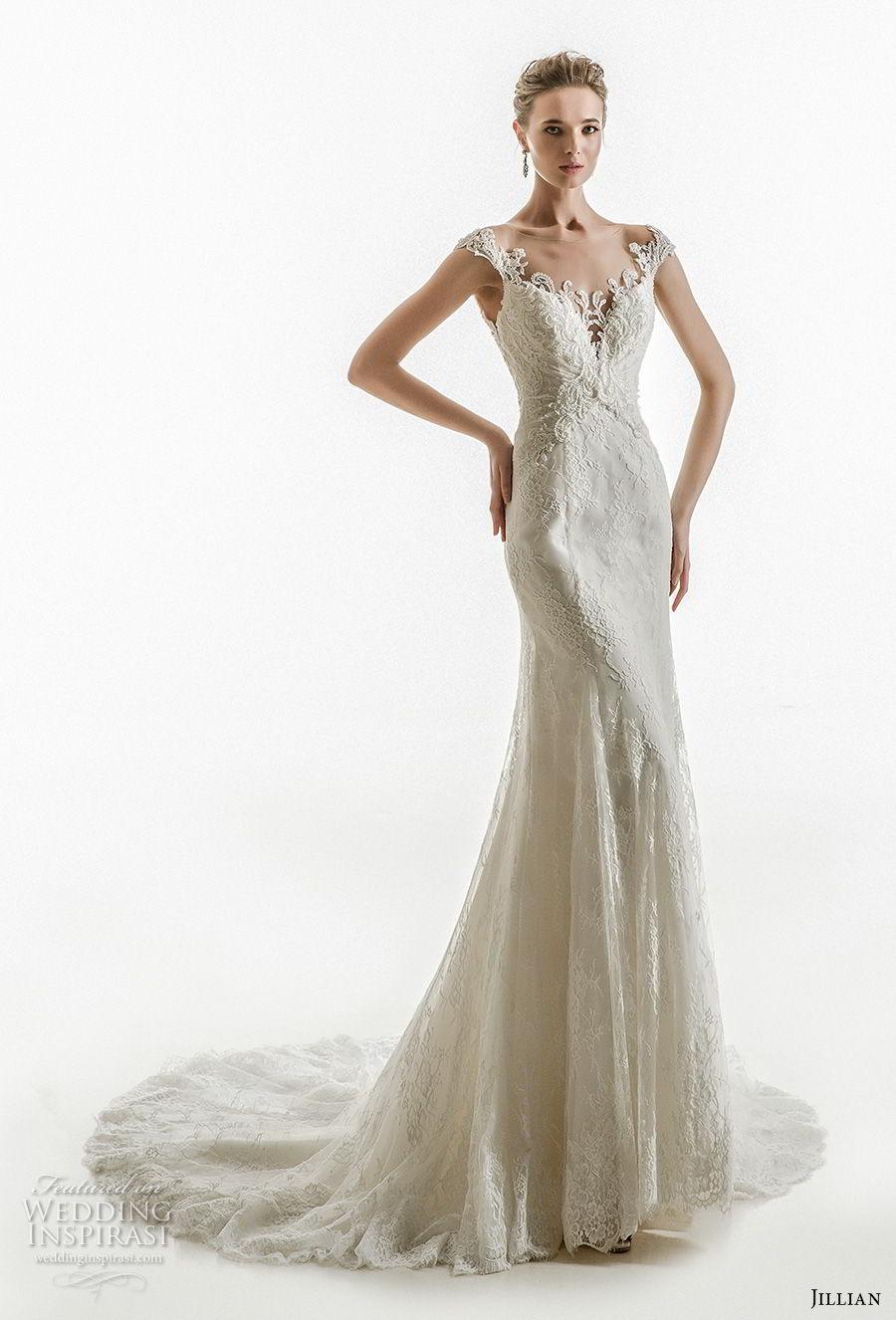 jillian 2018 bridal cap sleeves sweetheart neckline heavily embellished bodice elegant sheath wedding dress sheer button back chapel train (06) mv