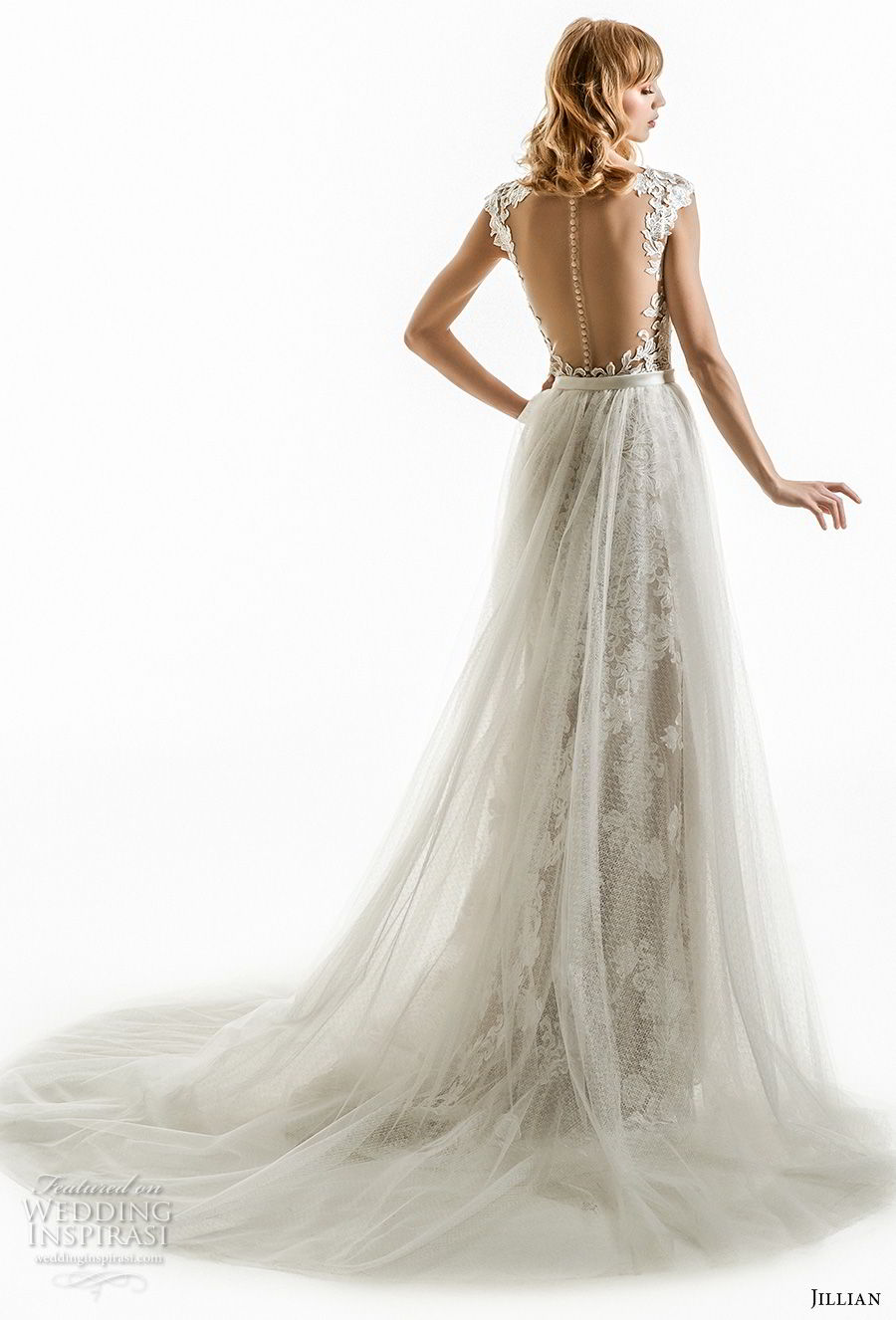 jillian 2018 bridal cap sleeves v neck full embellishment elegant column wedding dress a  line overskirt sheer button back chapel train (02) bv