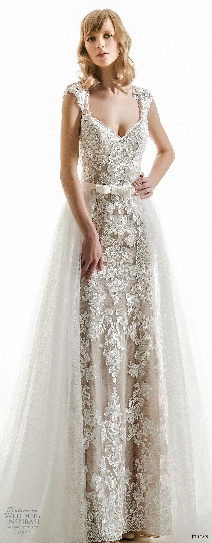 jillian 2018 bridal cap sleeves v neck full embellishment elegant column wedding dress a  line overskirt sheer button back chapel train (02) mv zv