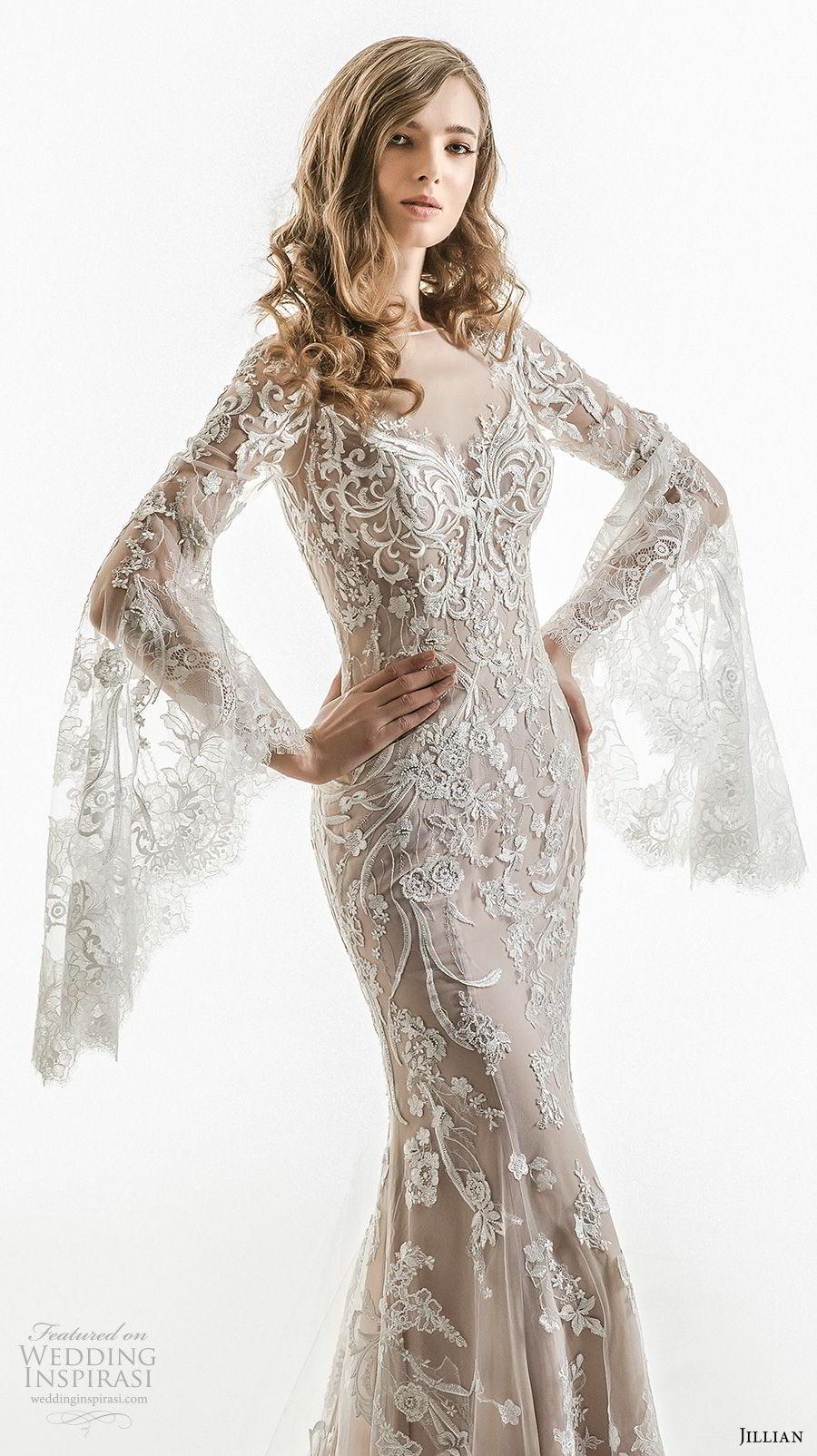 jillian 2018 bridal long bell sleeves sheer boat sweetheart neckline full embellishment elegant sheath wedding dress sheer button back chapel train (01) mv
