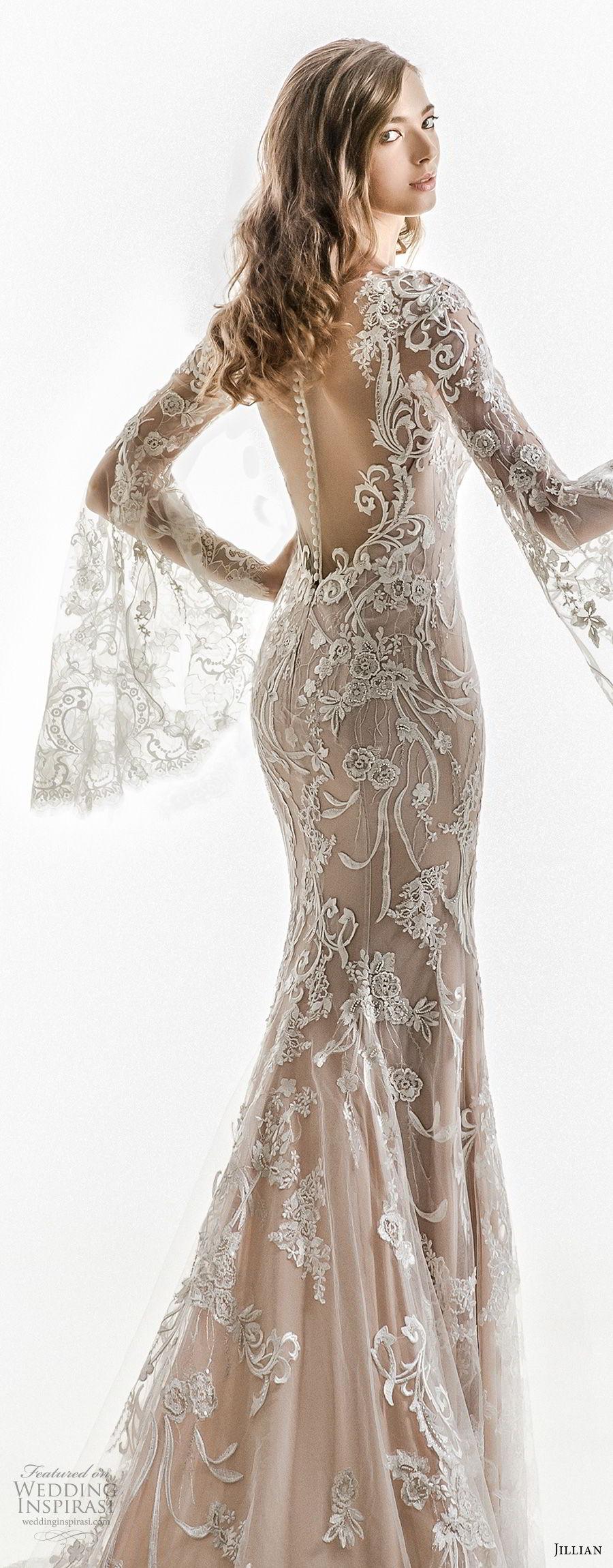 jillian 2018 bridal long bell sleeves sheer boat sweetheart neckline full embellishment elegant sheath wedding dress sheer button back chapel train (01) zbv