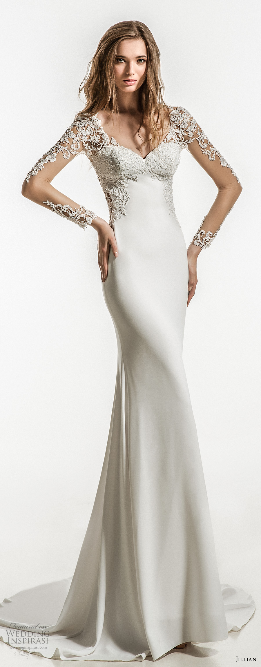 jillian 2018 bridal long sleeves sweetheart neckline heavily embellished bodice clean skirt elegant sheath wedding dress sheer button back short train (12) mv