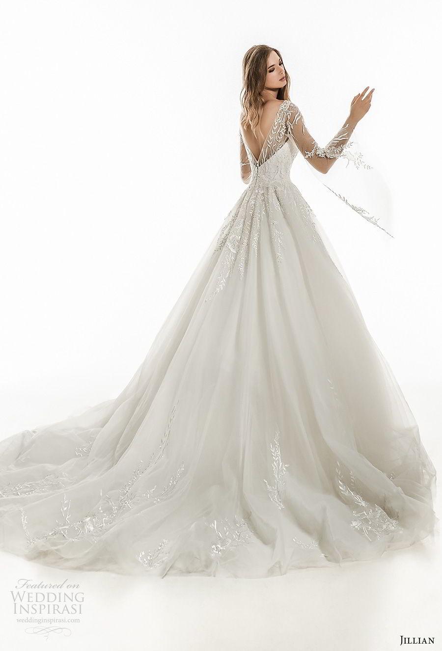 jillian 2018 bridal long sleeves sweetheart neckline heavily embellished bodice romantic fairytale a  line wedding dress open v back royal train (22) bv