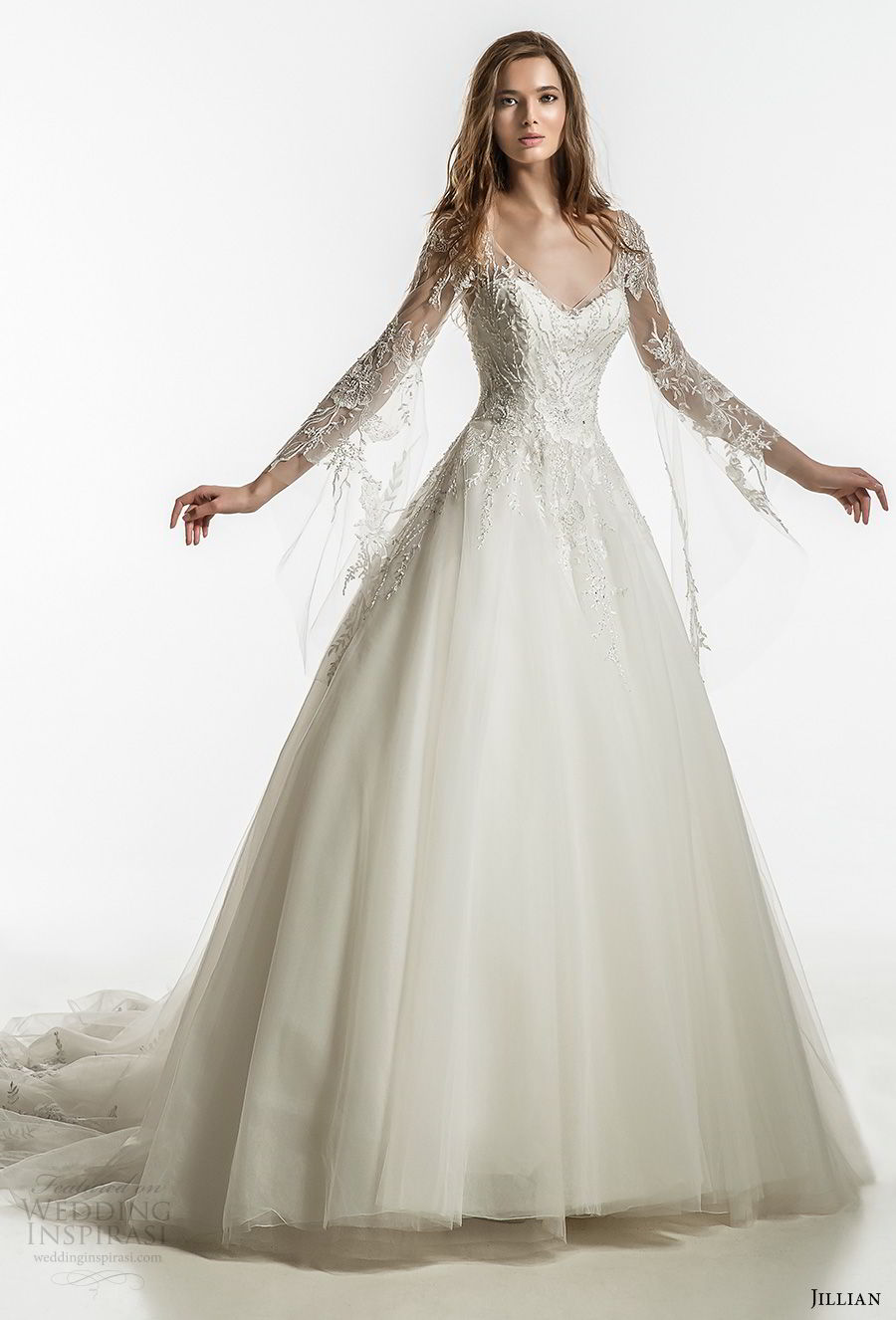 jillian 2018 bridal long sleeves sweetheart neckline heavily embellished bodice romantic fairytale a  line wedding dress open v back royal train (22) mv