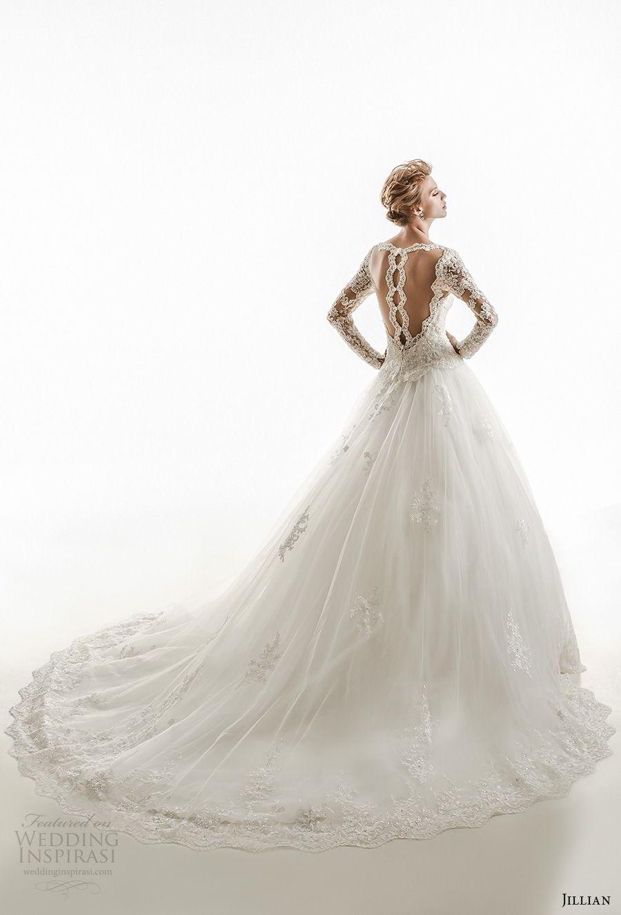 jillian 2018 bridal long sleeves v neck heavily embellished bodice elegant princess ball gown wedding dress sheer lace back royal train (25) bv