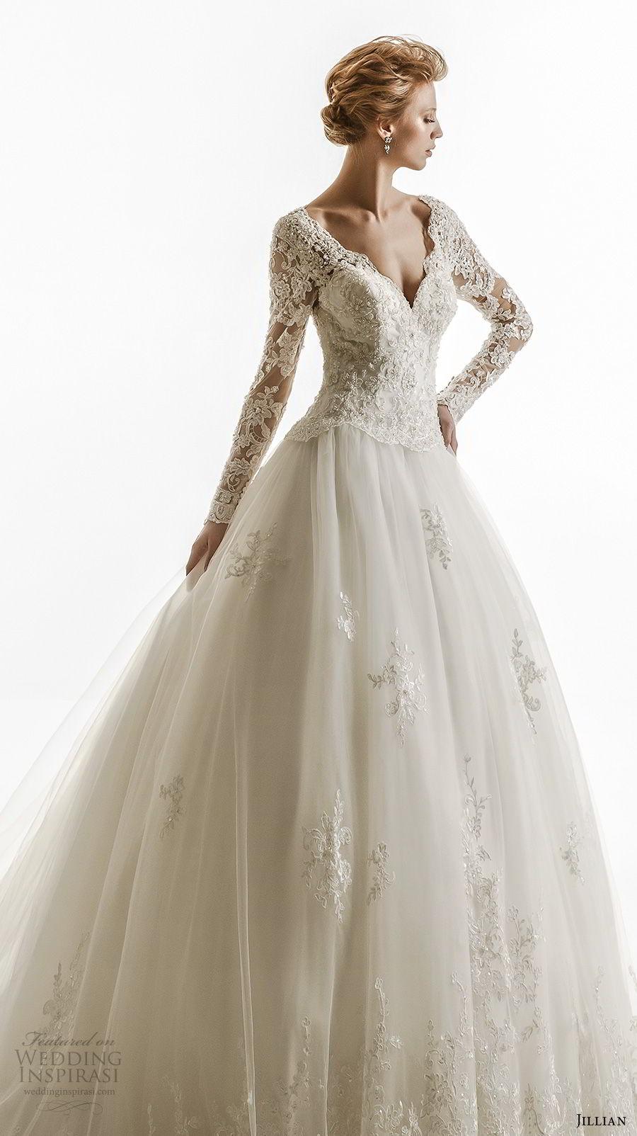 jillian 2018 bridal long sleeves v neck heavily embellished bodice elegant princess ball gown wedding dress sheer lace back royal train (25) mv