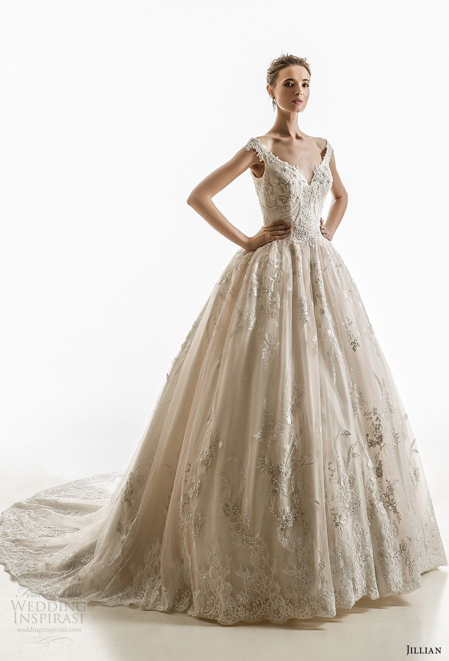 jillian 2018 bridal off the shoulder cap sleeves sweetheart neckline heavily embellished bodice princess ball gown wedding dress corset back chapel train (10) mv