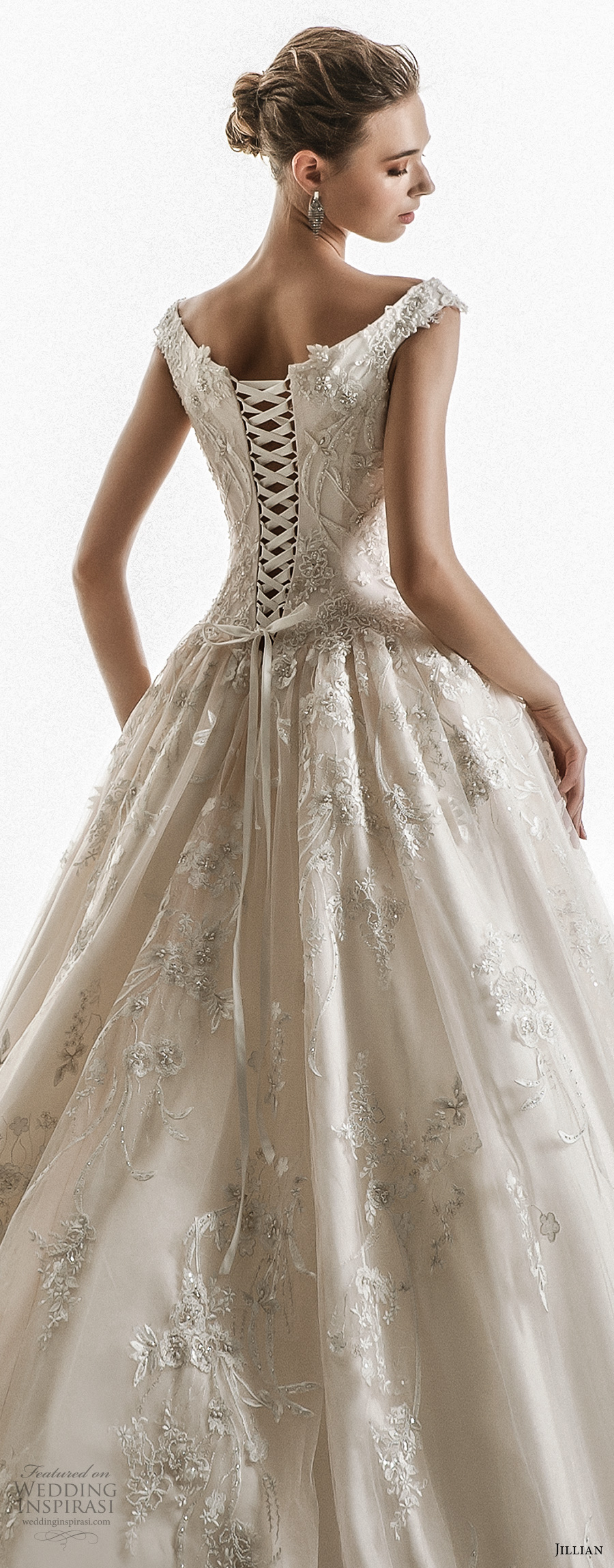 jillian 2018 bridal off the shoulder cap sleeves sweetheart neckline heavily embellished bodice princess ball gown wedding dress corset back chapel train (10) zbv