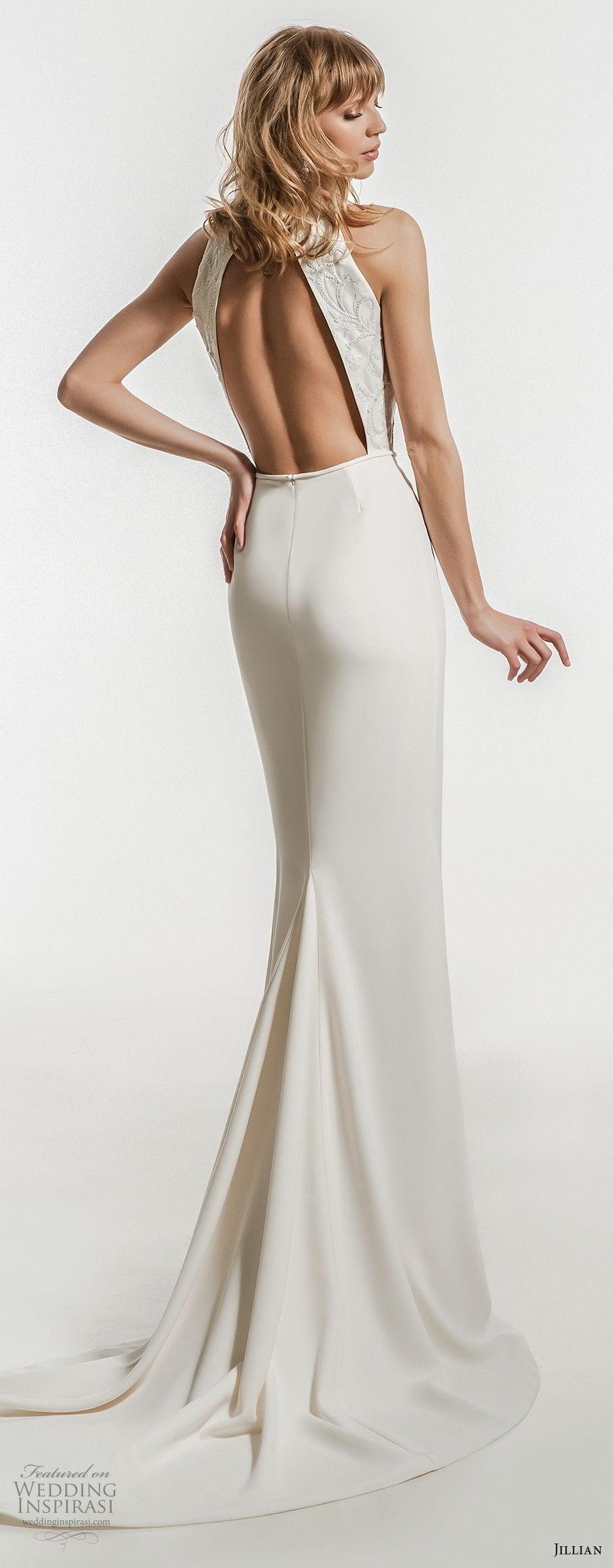 jillian 2018 bridal sleeveles halter jewel neckline heavily embellished bodice clean skirt elegant sheath wedding dress keyhole back sweep train (20) bv